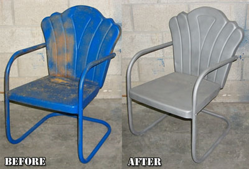 Stripping off paint and rust from lawn furniture before repainting it.