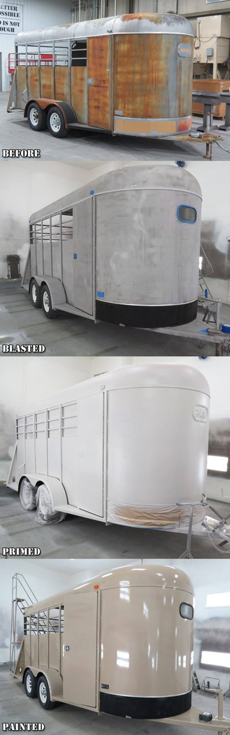 Removing the rust from a horse trailer before painting it. Wet vapor blasting was the process used.