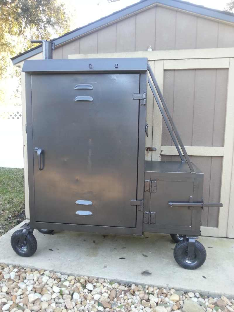 Elegant On The Front We Added A Steering Push/pull Handle So The 500 Lb Smoker  Could Be Rolled Around Easily. I Designed The Steering Handle So Its Out Of  The Way ...